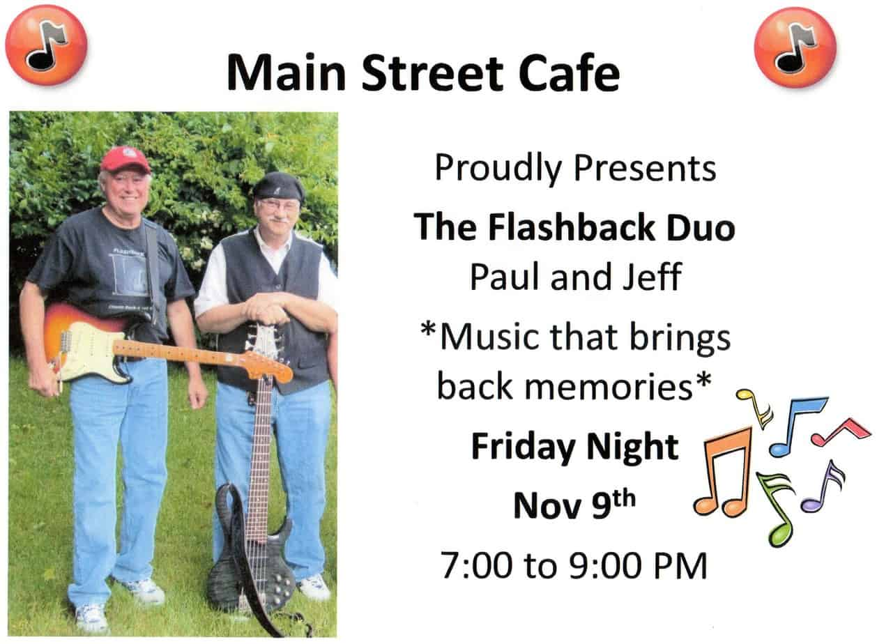 Live Music this Friday with The Flashback Duo